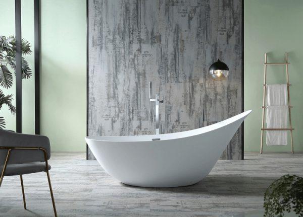 Акриловая ванна Abber AB9234 190х80 без гидромассажа в ванной комнате.