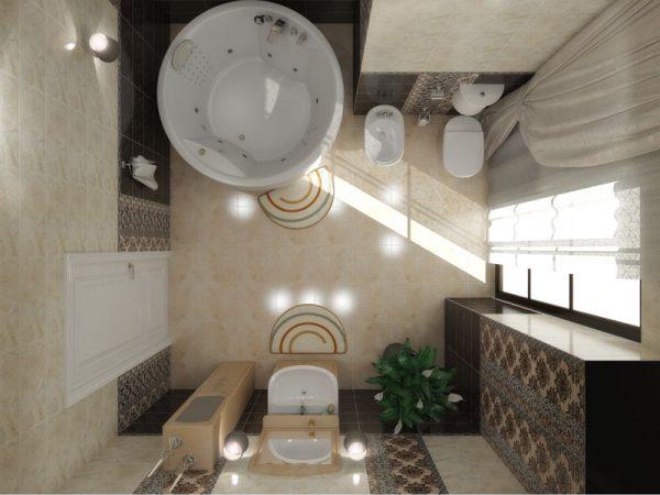 Акриловая ванна Aima Design Omega New 180х180 без гидромассажа в интерьере.