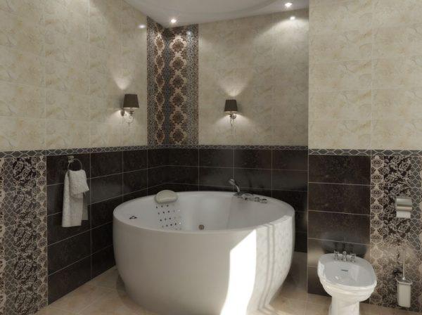 Акриловая ванна Aima Design Omega New 180х180 без гидромассажа в ванной комнате.
