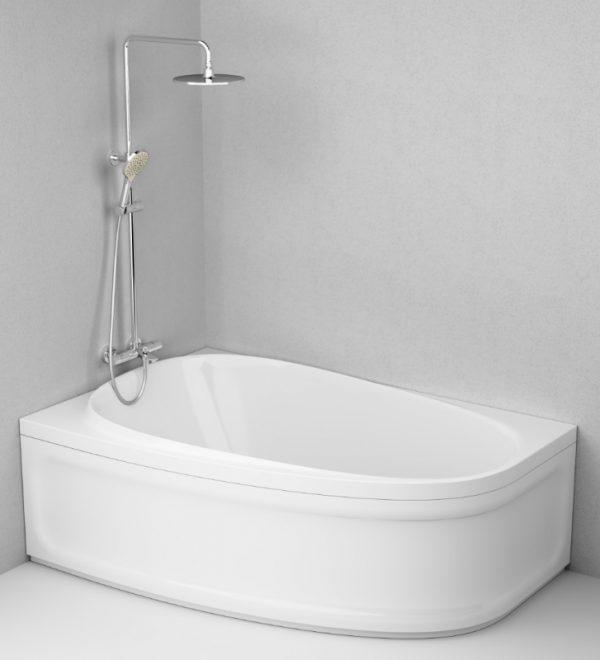 Акриловая ванна AM.PM Like 170х110 левая в интерьере.