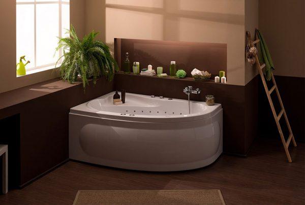 Акриловая ванна Aquanet Luna 155х100 без гидромассажа L в ванной комнате.