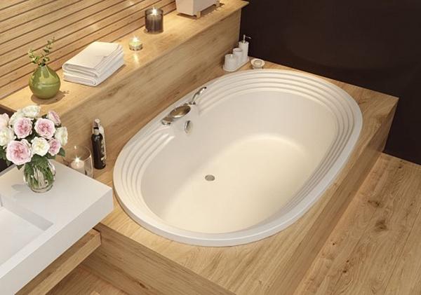 Акриловая ванна Aquanet Mishel 190х115 без гидромассажа в интерьере.