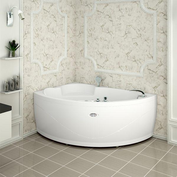 Акриловая ванна Radomir Wachter Алари 168х120 форсунки Белые L с гидромассажем изображена на фото