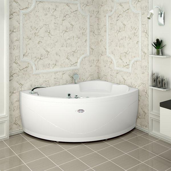 Акриловая ванна Radomir Wachter Алари 168х120 форсунки Белые L с гидромассажем в интерьере.