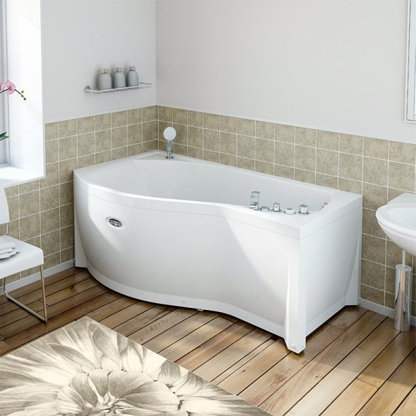 Акриловая ванна Radomir Wachter Миранда 168х95 форсунки Белые L с гидромассажем изображена на фото