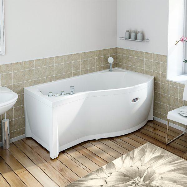 Акриловая ванна Radomir Wachter Миранда 168х95 форсунки Белые L с гидромассажем в интерьере.